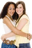 Friends. Two attractive young women in casual clothes Royalty Free Stock Photos