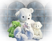 Friends. A collection of stuffed animals appearing as best friends in front of a backdrop window Stock Photos