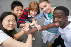 We are friends. Young people of different ethnic groups on the street Royalty Free Stock Photography