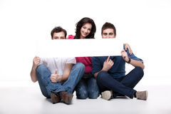 Friends advertising white banner Royalty Free Stock Images