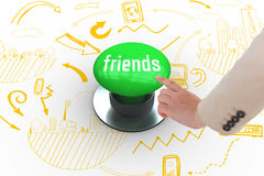Friends against digitally generated green push button Stock Image