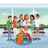 Friends in the airport. With lugagge vector illustration graphic design Royalty Free Stock Images