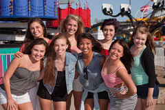 Friends at an Amusement Park Stock Photography
