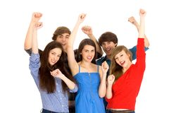 Friends with arms raised Stock Images