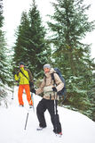 Friends with backpacks in the mountains in winter. Two men with backpacks in the winter mountains on a background of snow-covered fir trees, friends traveling Stock Image