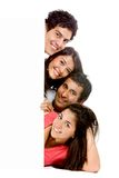Friends with a banner Royalty Free Stock Photo