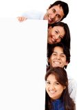 Friends with banner Stock Photo