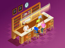 Friends In Bar Interior Isometric View Royalty Free Stock Image