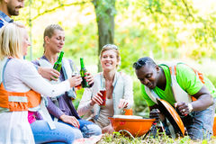 Friends barbecue in forest drinking beer Stock Photography