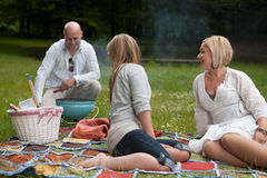 Friends BBQ in park Royalty Free Stock Photo