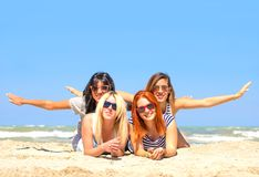 Friends on the beach Stock Photography