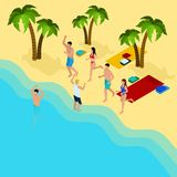 Friends On The Beach Illustration Stock Image