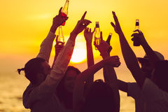 Friends Beach Party Drinks Toast Celebration Concept Royalty Free Stock Image