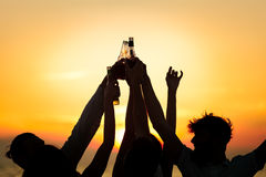 Friends Beach Party Drinks Toast Celebration Concept Stock Photography