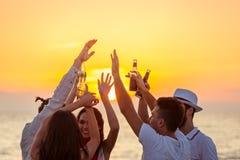 Friends Beach Party Drinks Toast Celebration Concept Stock Photos