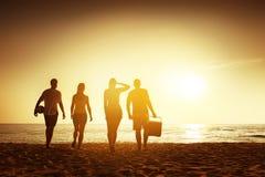 Friends beach sunset concept with stuff stock photos