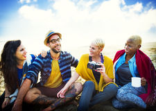 Friends Beach Vacation Relaxing Chilling Concept royalty free stock photos