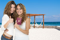 Friends on a beach vacation Stock Photography