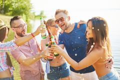 Friends with beer Royalty Free Stock Image