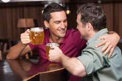 Friends in beer pub stock photo