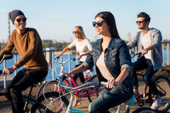 Friends on bicycles. Stock Image