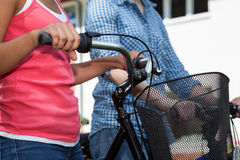 Friends on bikes Stock Images