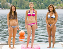 Friends in bikinis on pier Stock Photography