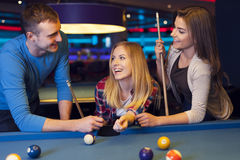Friends in billard club Royalty Free Stock Images