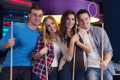 Friends in billard club Royalty Free Stock Images