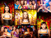 Friends at birthday party Royalty Free Stock Photos