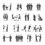 Friends black icons set Royalty Free Stock Images