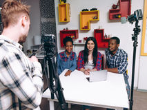 Friends blogger make video. Startup, new business. Stock Images