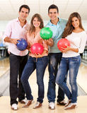 Friends bowling Stock Photos