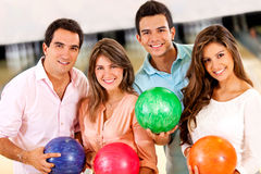 Friends bowling Royalty Free Stock Image