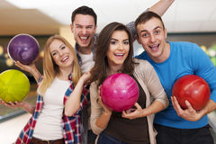 Friends at bowling alley Stock Photos