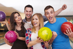 Friends at bowling alley Royalty Free Stock Images