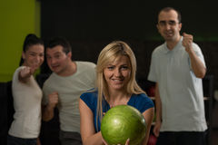 Friends Bowling Having Fun Stock Photos