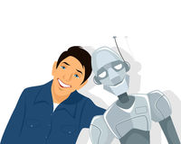 Friends - boy and robot Royalty Free Stock Images
