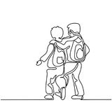 Friends boys going back to school with bags. Continuous line drawing. Vector illustration on white background Royalty Free Illustration