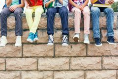 Friends on brick wall Stock Photography
