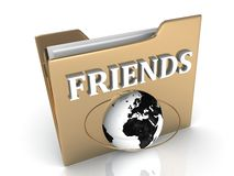 FRIENDS bright white letters on a golden folder Royalty Free Stock Photo