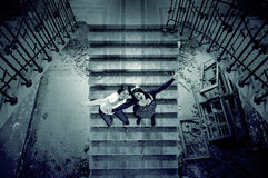 Friends in broken stairs. Aggressive women shouting, madness and rage Stock Photos