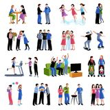 Friends buddies activities flat icons set Royalty Free Stock Images