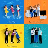 Friends buddies 4 flat icons square Royalty Free Stock Image