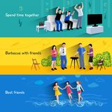 Friends buddies 3 horizontal banners set Royalty Free Stock Photo