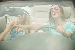 Friends in cabriolet Royalty Free Stock Images