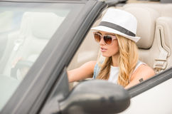 Friends in cabriolet Stock Photography