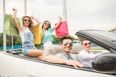 Friends in cabriolet Stock Photo