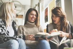 Friends in cafe. stock image