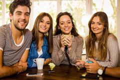 Friends at the cafe royalty free stock image